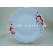 Round heart decal decorate custom design porcelain plate
