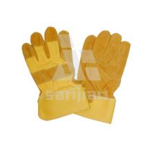 Guante de seguridad de trabajo de cuero amarillo a / ab / bc