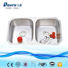 Unique Undermount CUPC 304 Pressing Stainless Steel Double Twin Bowl Deep Kitchen Sink 3218