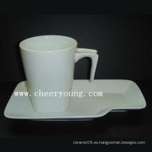 Taza y platillo de cerámica (CY-P518)