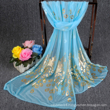 2017 New design factory directly sale Peacock print fashion silk chiffon scarf