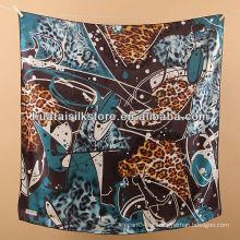 Lenço da cabeça de seda da forma do leopardo da senhora azul de seda de 100%