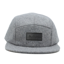 china suppliers wool plain brim 5 panel camper hats wholesale with leather patch in front