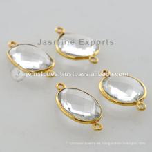 Cristal de cuarzo Gemstone Bezel Configuración Vermeil Conector