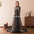 2018 Suzhou Factory Wholesale Floor Length Black Beaded Hup Classy Porn Dubai Evening Dress