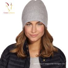 Senhoras inverno quente cashmere Beanie Hat costela chapéu de malha