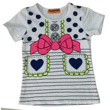 T-shirt da menina da forma com impressão de vidro Sgt-043