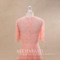 Vestido de la dama de honor de los patrones del color del melocotón del cordón de la manga corta al por mayor
