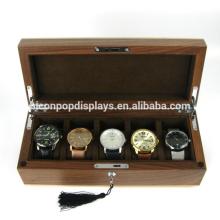 Fábrica de venta al por menor tienda de accesorios de lujo Logotipo de madera de lujo de bloqueo caja de visualización de reloj