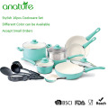 Colorful Painting 16pcs White Ceramic Nonstick Cookware Set