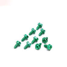 Color Aluminum Triangular Tooth Lock Screw With Flange