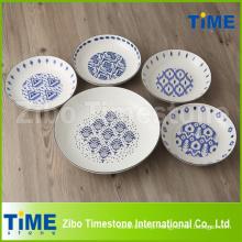 Porcelana Pasta Bowl conjuntos com Decalque