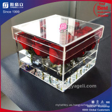Fábrica de alta caja de acrílico acrílico transparente de 9 rosas