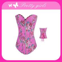 Pink Denim Corset with Front Zipper