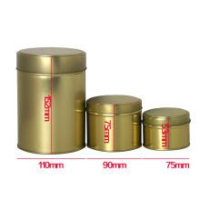 Custom Logo Gold Color Round Tea Tin Box