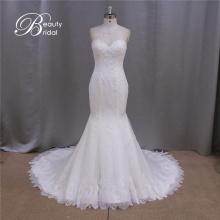 Xf1038 französisches Design reales Bild von trägerlosen Perlen Lace Braut Hochzeit Kleid 2016
