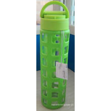 Garrafa de água de vidro com luva de silicone PP Lid 385g 520ml
