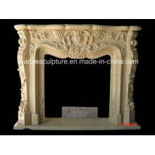 Cheap Popular Insert Marble Fireplace Surround Flowers (SY-MF158)