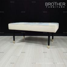 Banc de chambre à coucher en bois capitonné de banc de lit de luxe avec le coussin