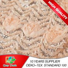 Flor de la gasa 3D de la buena calidad del diseño de la manera con el bordado de los cequis para vestirse, Wedding, ropa, Hometextile