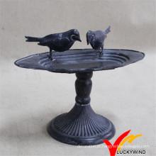 Bandeja antiga do metal de ferro fundido Alimentador do pássaro