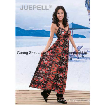 Senhoras tricô floral impressão cami maxi vestido