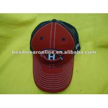Chapeaux de maille 6panels casquette de baseball avec 3D EMB logo boucle en plastique