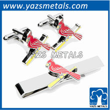 Cardinals giants cufflinks and tie bar gift set, custom made metal tie clip with design