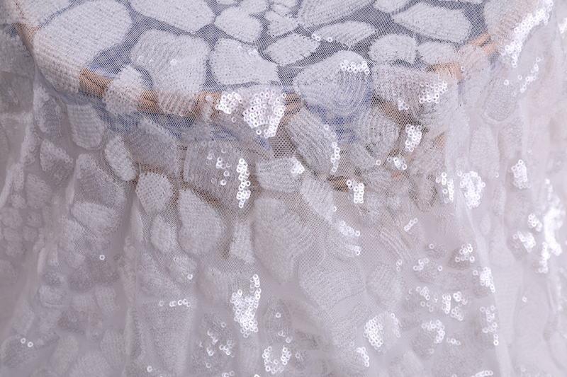 3mm Chalk White Sequin Embroidery Fabric