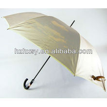 Arbre de fibre de verre promotionnel droite golf parapluie & côtes avec caoutchouc crochet manche
