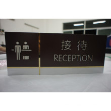 Panneau de réception gravé à l'eau-forte de panneau d'acier inoxydable d'intérieur avec la peinture