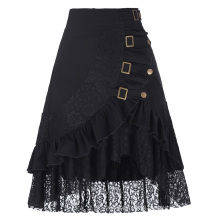 Belle Poque Vintage Women's Steampunk Gothic Clothing Gypsy Hippie High Stretchy Nylon-Cotton & Lace Skirts BP000205-1