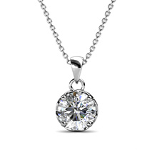 New Luxury Jewelry 925 Sterling Silver 1.0 Carat Moissanite Diamond Round Pendant Necklace for Women