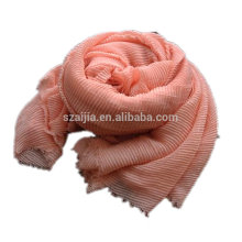 Fashion solid polyester crinkle voile infinity scarf