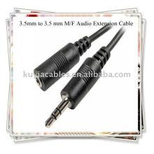 Cabo de 3,5 mm a 3,5 mm, cabo de extensão de áudio M / F