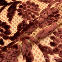 Tissu confortable 80% rayonne 20% nylon tissé à carreaux imprimé fleur burn out velours pour chemises