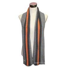 Man Fashion Wool Cotton Knitted Striped Winter Scarf (YKY4328)