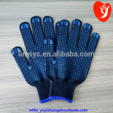Hot sale blue pvc dotted black blue poly cotton knitted garden gloves