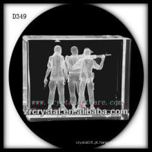 K9 3D subsuperfície de tiro dentro retângulo de cristal