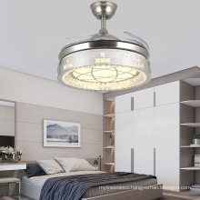 Luxury K9 Crystal Remote Control Invisible Ceiling Fan Lights For Dining Room