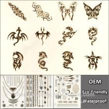 Серебряное золото Новые мгновенные водонепроницаемые временные татуировки наклейки дракона краски печатных Оптовая YS024