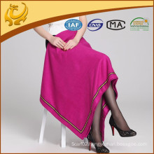 High Quality Cashmere Feeling Silk Material Woven Plain TV Blanket With Piping
