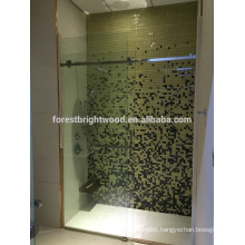 Frameless interior glass shower door for bathroom of hotel