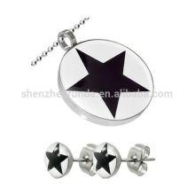 Novos produtos em aço inoxidável estrela pendente e brinco conjunto de jóias