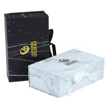 Custom Logo Luxury Marble Box Magnetic Gift box with Ribbon
