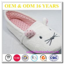 Cute mouse embroidery soft low pile fabric woman slipper