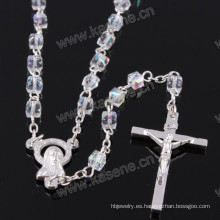 Cuentas cristalinas cuadradas transparentes del rosario de 4m m, rosario religioso