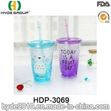 16oz angepasst Kunststoff Zitronensaft Trinkflasche mit Strohhalm (HDP-3069)
