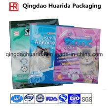 Bolsa de plástico plana para embalaje de arena para gatos, bolsa de arena para gatos