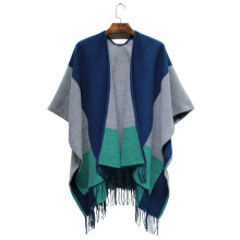 Леди мода акрил Цвет блока Сплетенный зима бахромой шаль (YKY4502)